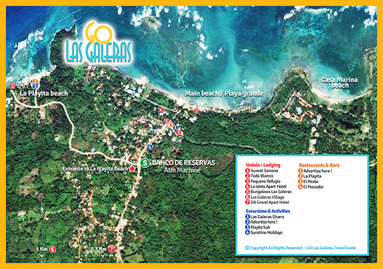 Map of Las Galeras Detailed Map of Las Galeras town in Samana